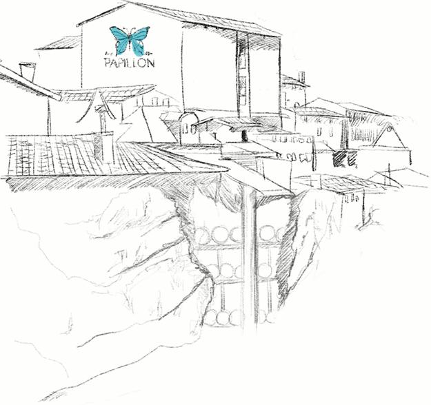 dessin visite caves roquefort papillon soulzon